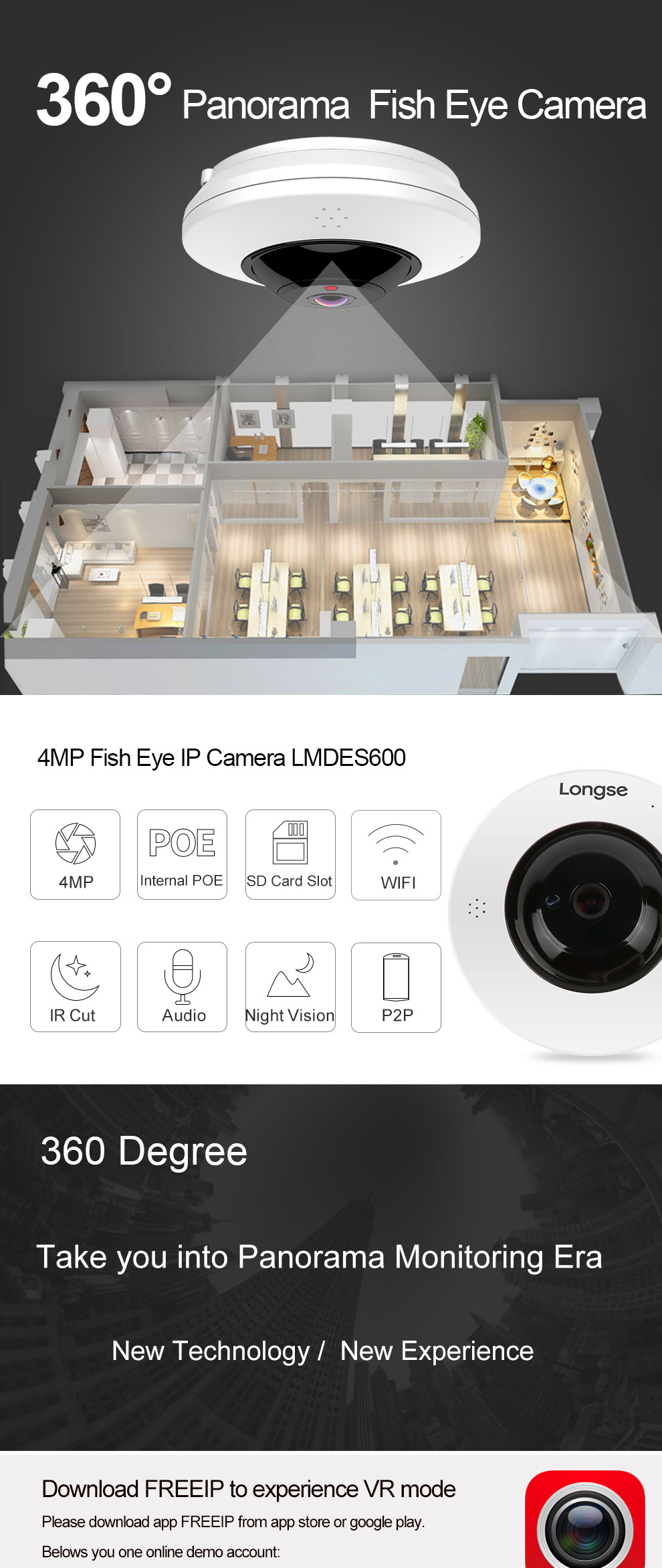 longse 4MP POE Fisheye IP Camera 2-Way Audio Board Lens 1.05mm With WIFI LMDES600