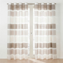 Polyester fancy horizontal design grommet faux silk stripe organza curtain