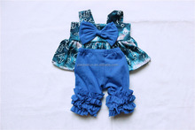 2017 new fashion baby back to school child outfit baby printing pattern party dress with aqua icing pants outfit