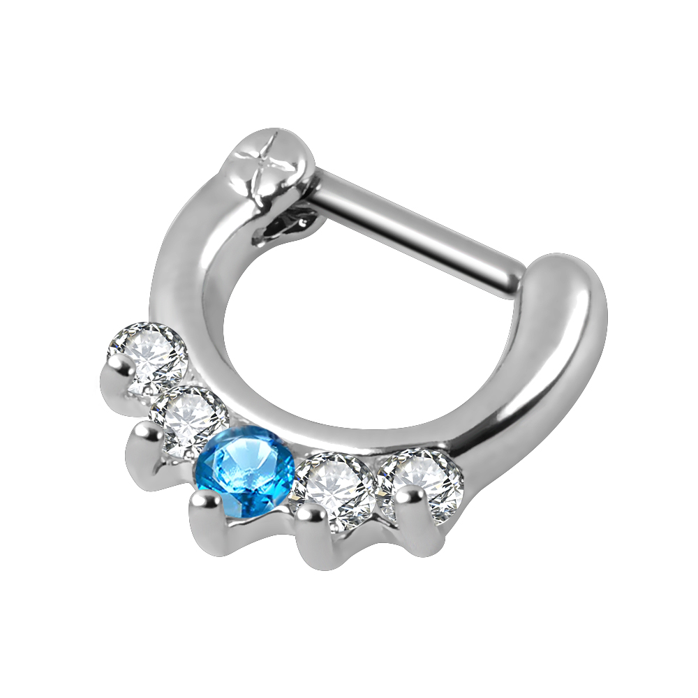 New style Stainless Steel zircon septum clicker nose ring