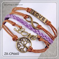 NEW Infinity Tree Love Friendship Brown Leather Cute antique silver anchor bracelet . ZX-CP660