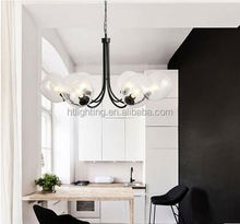 Iron metal vintage best seller glass lamp shades cover black color chandelier lamp