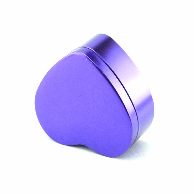metallic purple heart shape german tin box