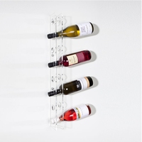 Wall mounting clear acylic wine rack to hold up to 8 wine bottles
