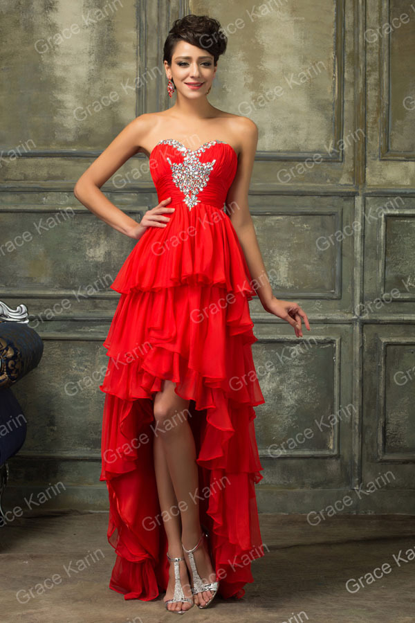 Grace Karin Sexy Strapless Short Front Long Back Red Prom Dress 2015 CL3517
