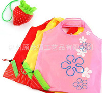 Recycle strawberry polyester folded bag wholesale