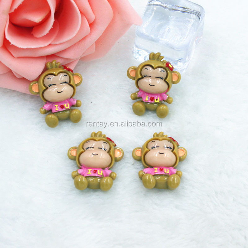 Wholesale 28*23mm Pink Resin Flatback Kawaii Monkey Cartoon Cabochons