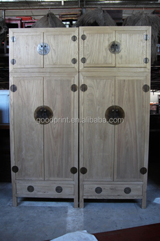 Bleached Natural Color Chinese Antique Wardrobe Cabinets