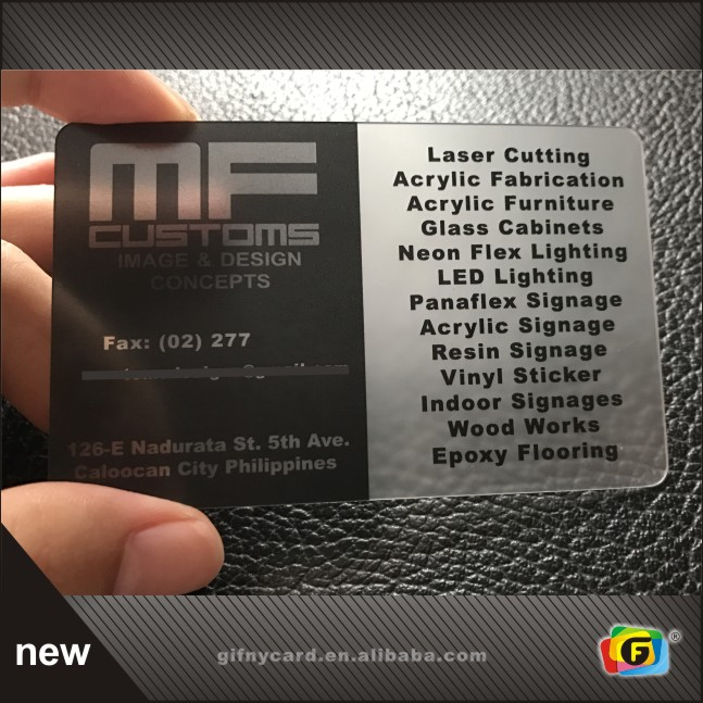 Customize Design Transparent Business Card Printing/ Clear Plastic Cards