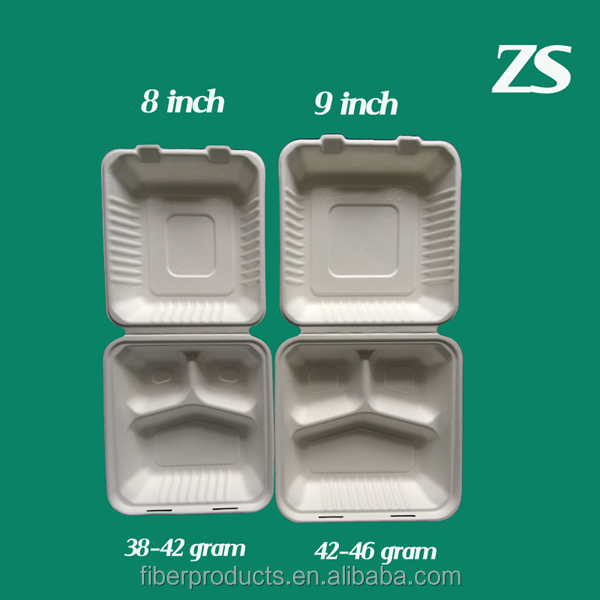 Bagasse clamshell 3 compartment food container