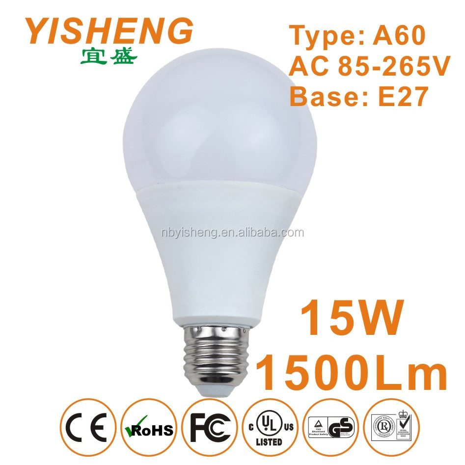 High Quality Super Bright 1600Lm 15W E27 LED Lighting Bulb Replace 36W CFLs, CE/RoHS/EMC Approved