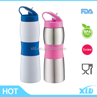 stainless steel easy drinking sports water bottle with straw