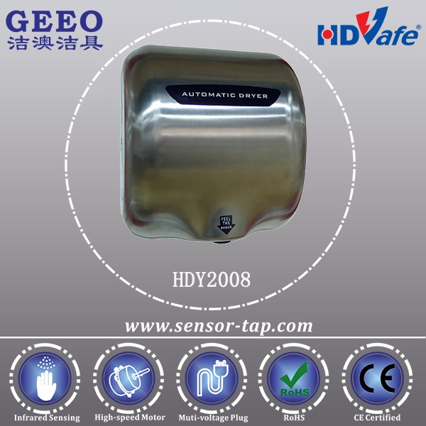 High Speed Motor Automatic Bathroom Jet Air Hand Dryer