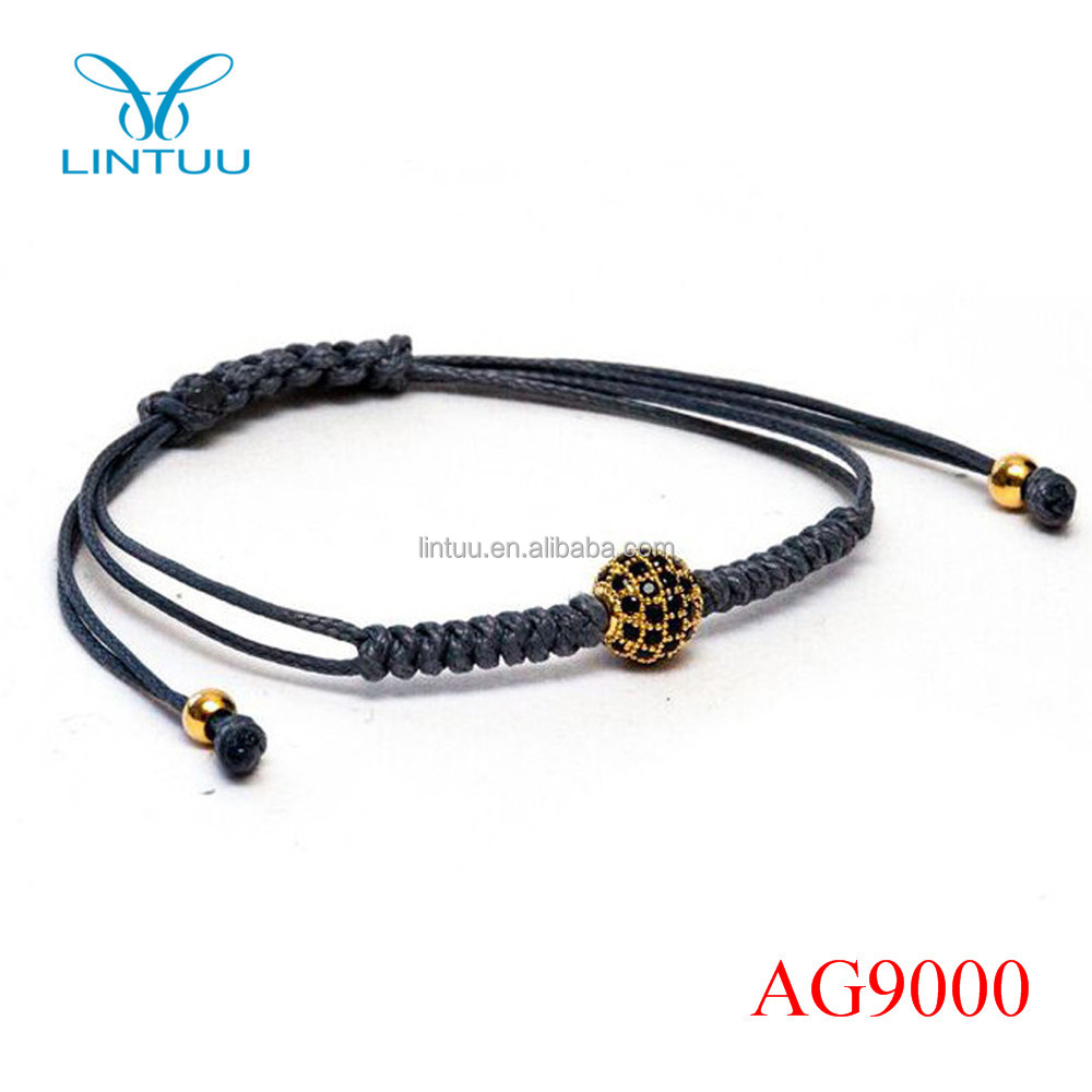 Fashion gold plated diamond ball bead macrame cord real gold plated bracelets for men