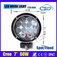 7 INCH 60W ROUND LED WORK LIGHT SPOT OFFROAD TRUCK UTE 12V LED DRIVING WORK LIGHTS