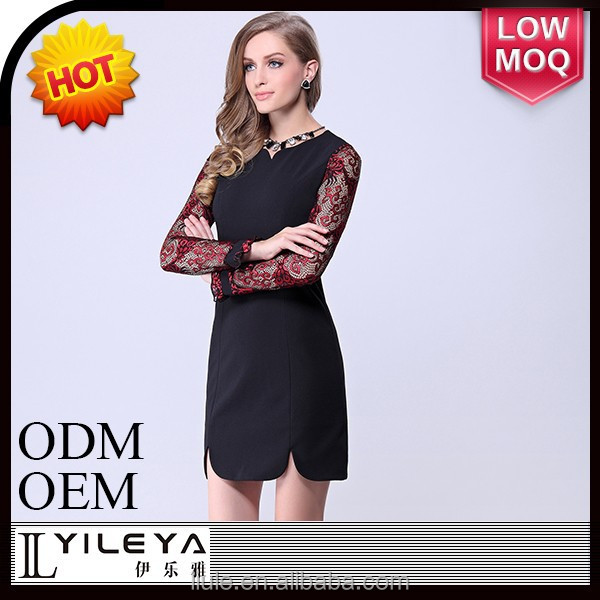 long sleeve black dress fashion ladies office dress 2014 career dress with lace pitching work