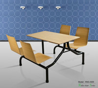Triumph school canteen 4 seaters table and chairs / cafeteria table&chairs set / heavy-duty wooden dining furniture