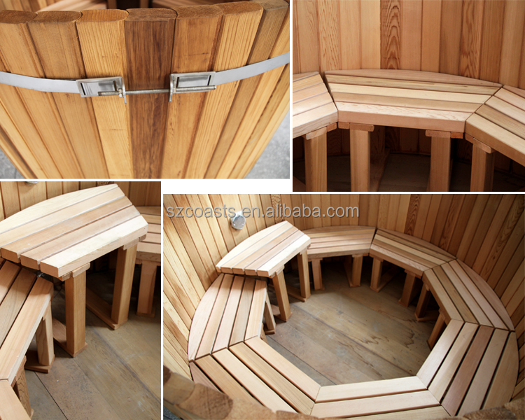 Wholesale price for 3-4 person wood fired round cedar hot tub outdoor