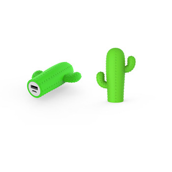 Promotional Cactus plant shaped 2200mah 2600mah pvc mobile charger power bank gift