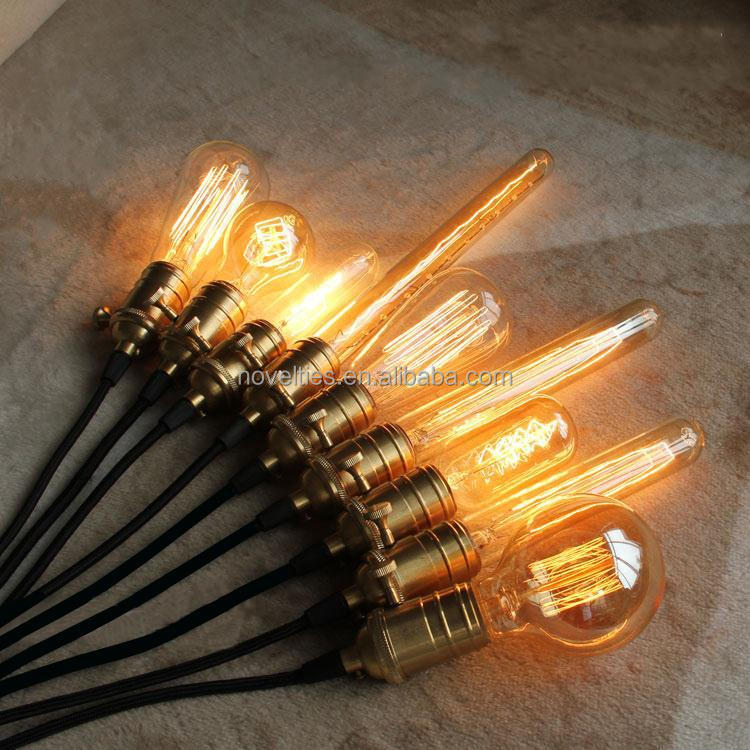 Vintage Brass Pendant Light Edison Bulb Lighting