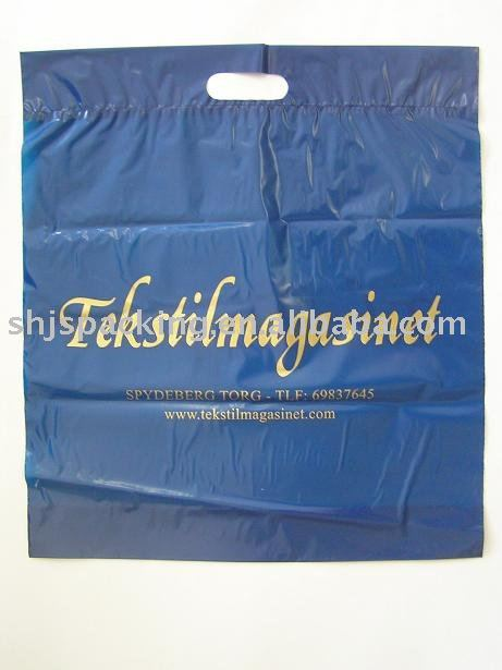 die cut plastic shopping bag