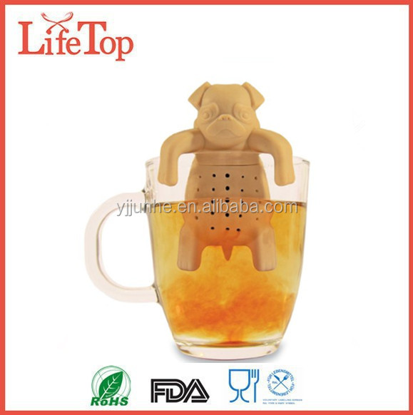 food grade BPA free cute dog/pet/ animal silicone tea infuser , pug shape tea infuser