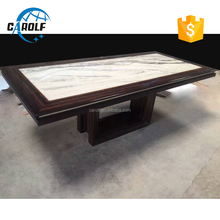 Luxury wooden base travertine stone top dining table