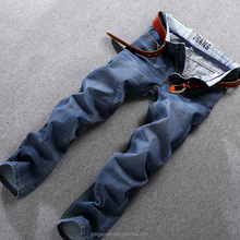 (stock)Wholesale slim straight casual pencil mid waist blue jeans for men