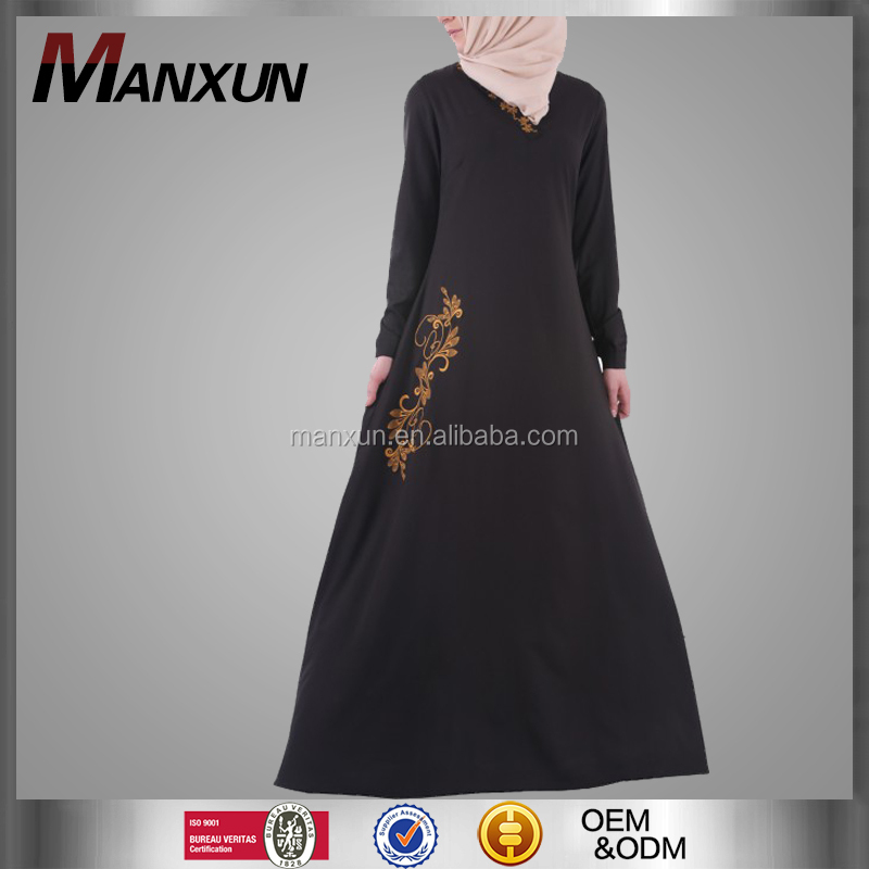 V neck front muslim modern abaya newest embroidered ethnic gown
