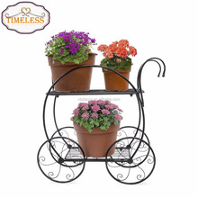Hot sale 2 Tier Metal Garden Flower Pot Stand Garden Decorative Plant Holder Display Rack