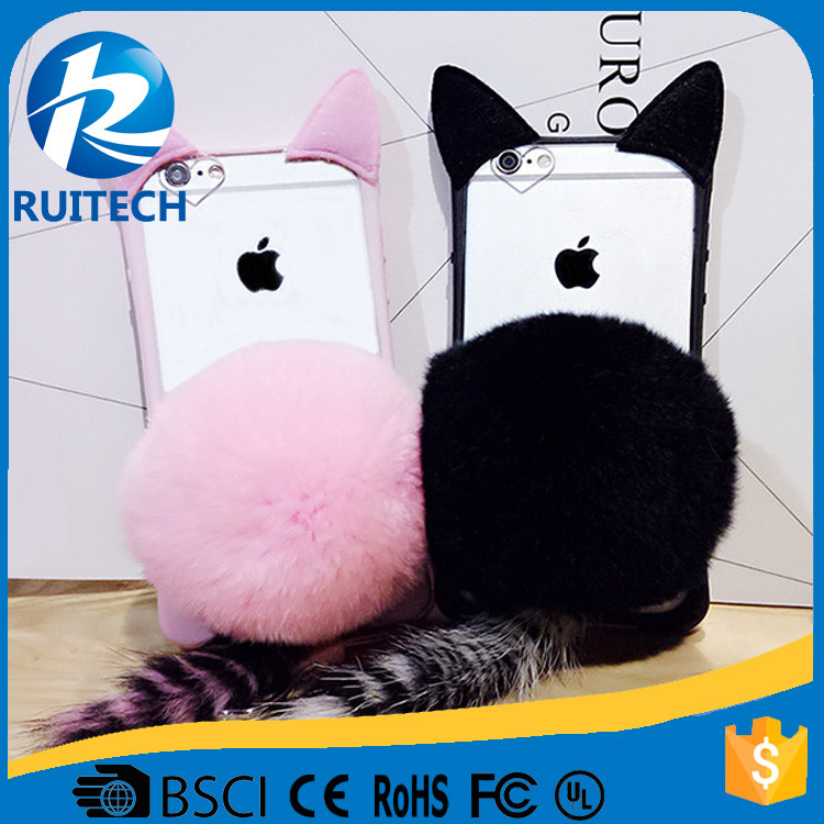Newest Fashion Luxury TPU Phone Cases Cute Rabbit Fur Ball For iPhone 7 6S 6 Plus 5 5S Cover For
