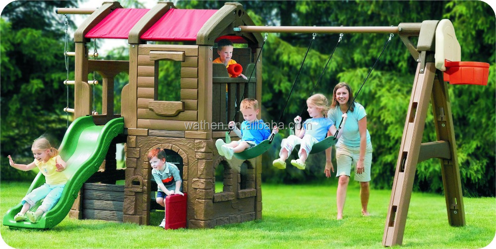 2016 NEW and HOT children outdoor play equipment with two swing seats