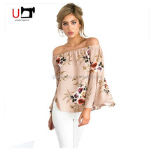 New Design Floral Printed Long Bell Sleeve Off Shoulder Women Loose Blouse For Holiday