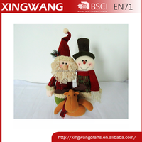 shantou factory manufacturer brushed fabric snowman family christmas decoration home decoration