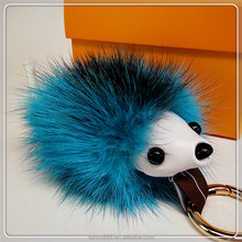 KC7 100% Real Fur Pom Pom keychain / small mouse key ring /fur pompom keychain mobile phone hang act
