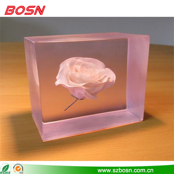 Beautiful transparent acrylic block with white flower for sale