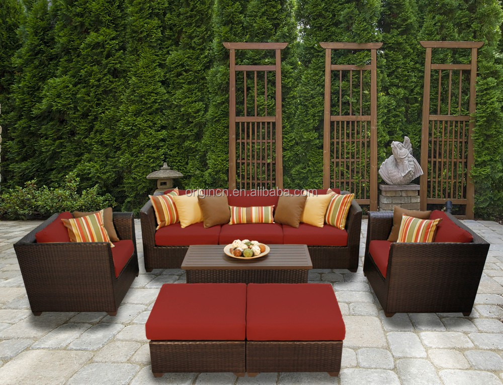 Modern home garden outback used leisure ways sofa set and ottoman outdoor cheap wicker furniture