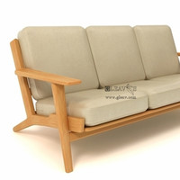 Beech Solid Wood Frame 3 Seat