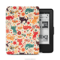 Ultra Slim Pu Leather With Auto Sleep and Wake function Smart Cover Case For Amazon Kindle 7th Generation with cat design