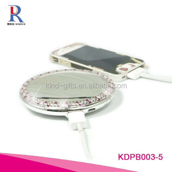 Glitter mobile charger power bank high capacity Power Bank with cosmetic mirror