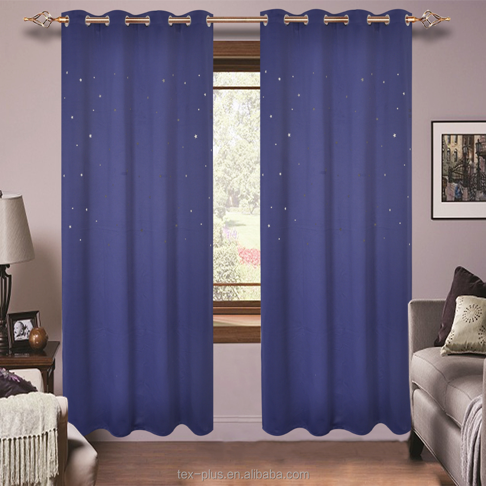 Laser cutting little star kids black out no top hem stitching curtain