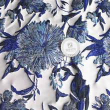 Floral jacquard fabric Chinese brocade fabric blue and white porcelain fabric for ladieswear