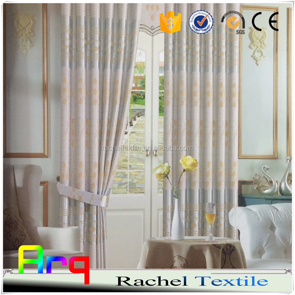 Western Bedroom/Living room curtain drape 100% blackout flocked fabrics for curtain/ sofa/cushion- silk like polyester material