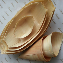 Party wedding suppliers disposable pine wooden boat dishes plate