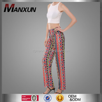 Boho Style Color-Blocking Printing Ethenic High WAisted Wide Leg Women Trousers Long Pants