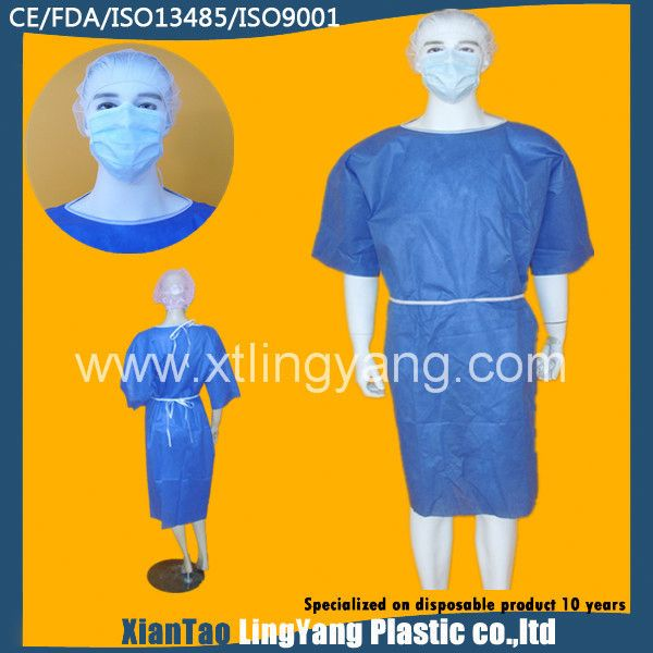 Natural latex free and Anti-static disposable nonwoven surgical gown made of sms used in hospitals