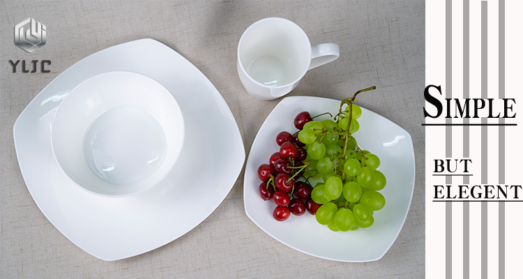Wholesale Classic Porcelain 8 and 10.5 Inches White Square serving airline dishes and plates