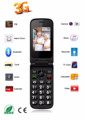 big battery mobile phone senior phone flip 3G s20 SOS camera torch light function wcdma 850/900/2100