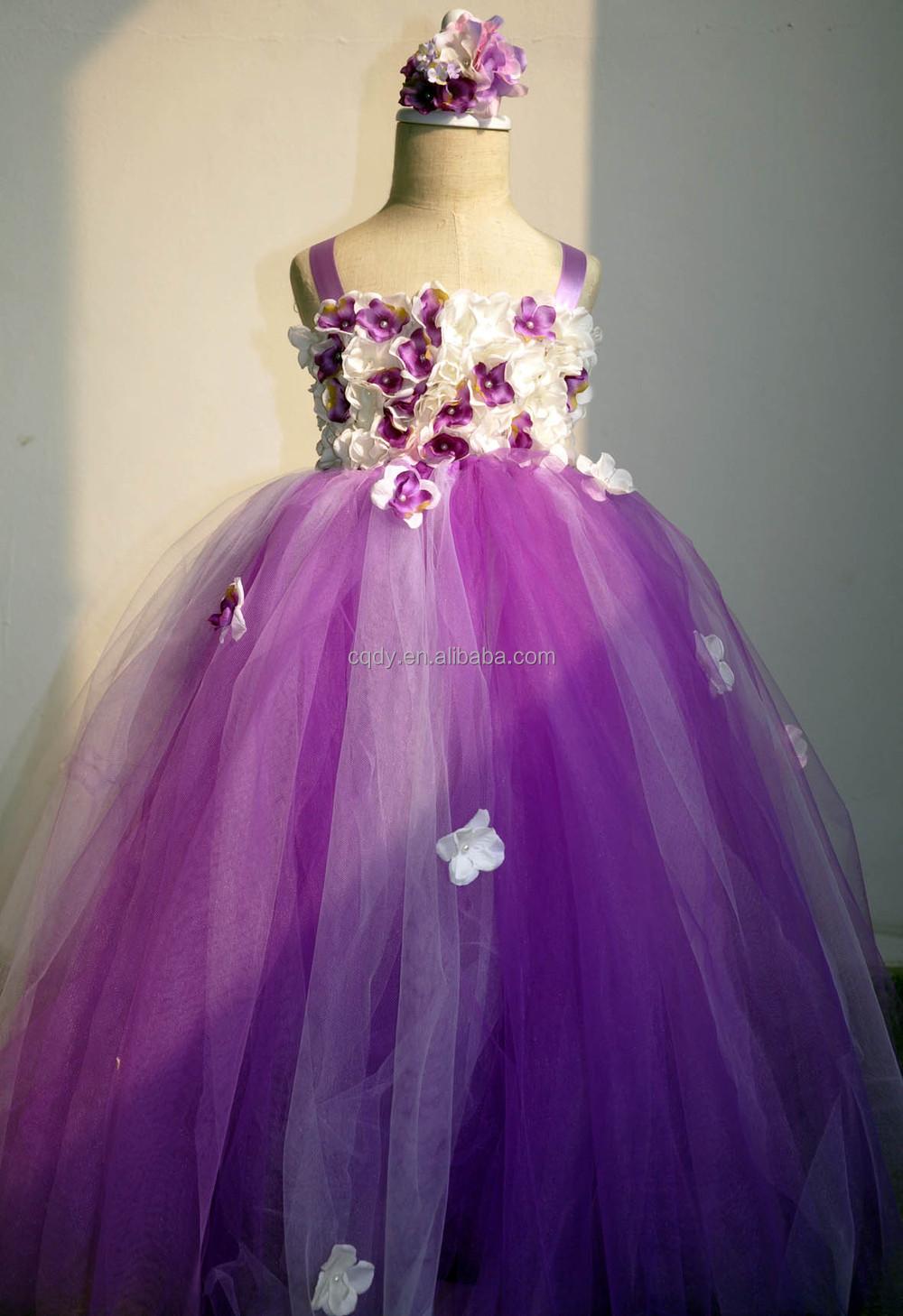 Floral Children Tutu Dress Flower Girl Dress Purple Tulle