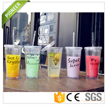 Alibaba top selling customized logo plastic <strong>cup</strong> with straw